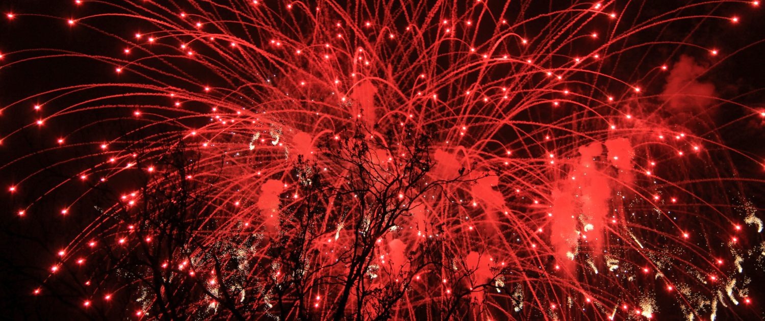 Red Coloured Fireworks in The Night Sky - Counselling for Anger - Sandra Harewood Counselling