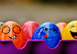 Box of Coloured Eggs With Painted Faces - Verbal Abuse: When The Joke Just Isn't Funny - Sandra Harewood Counselling