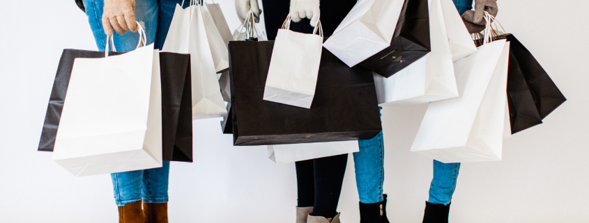 3 Things You Need to Know About Letting Go - Three Women Holding on To Multiple Shopping Bags Afraid Of Letting Them Go - Sandra Harewood Counselling